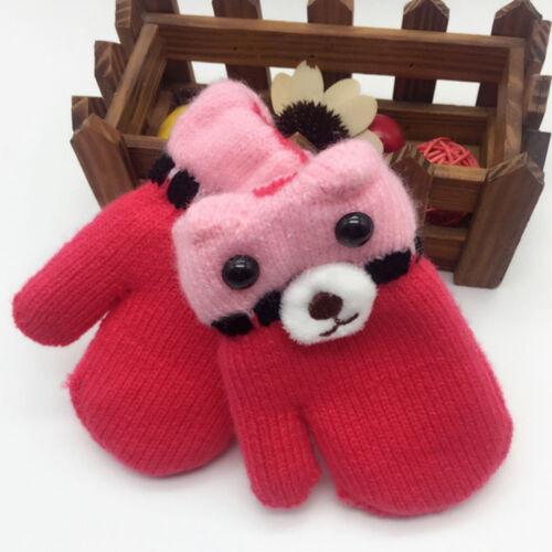 Winter Warm Toddler Kids Baby Gloves Cartoon Cotton Girl Boy Gloves With Rope