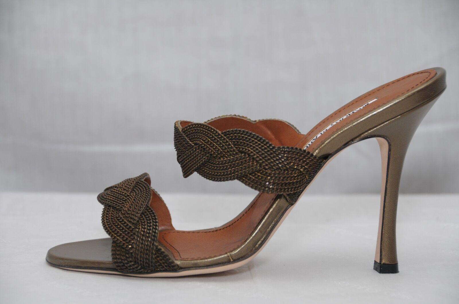 1390 NUOVO MANOLO BLOHNIK Slide SANDALS METAL BRONZE scarpe 37 38.5 39 39.5 40  negozio all'ingrosso