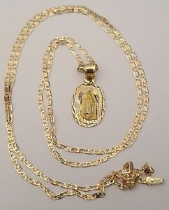 14k Yellow Rose White Gold Virgin Mary Pendent Charm 18 Inch Valentino Chain