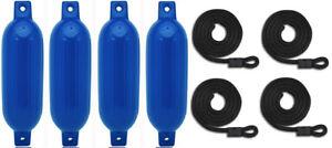 "4 Boat Fender 6.5/"" x 23/"" Vinyl Ribbed Bumper Dock Shield Protection Blue"