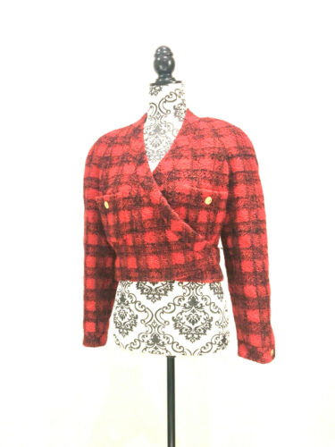 CHANEL - VTG Red & Black Checked Plaid Wool Croppe