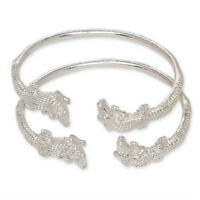 .925 Sterling Silver Alligator West-indian Bangle Set