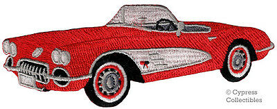 RED CONVERTIBLE CAR iron-on PATCH embroidered CLASSIC 1960s AUTOMOBILE applique