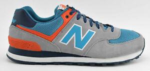 MENS-NEW-BALANCE-574-RUNNING-SHOES-SIZE-12-D-GRAY-BLUE-ORANGE-WHITE-ML574SOE