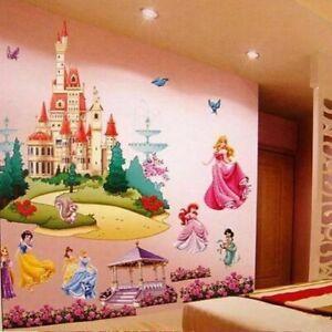 Princess-Castle-Wall-Sticker-Large-Vinyl-Decal-Girl-Kids-Bedroom-Art-Cartoon-NEW