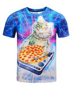 Cat-DJ-Pizza-T-Shirt-All-Over-Drole-de-chat-dans-l-039-Espace-Imprime-Imprime-Chaton-tee