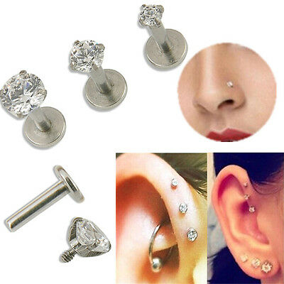 16G Gem Round Tragus Lip Ring Monroe Ear Stud Earring Body Cartilage Piercing
