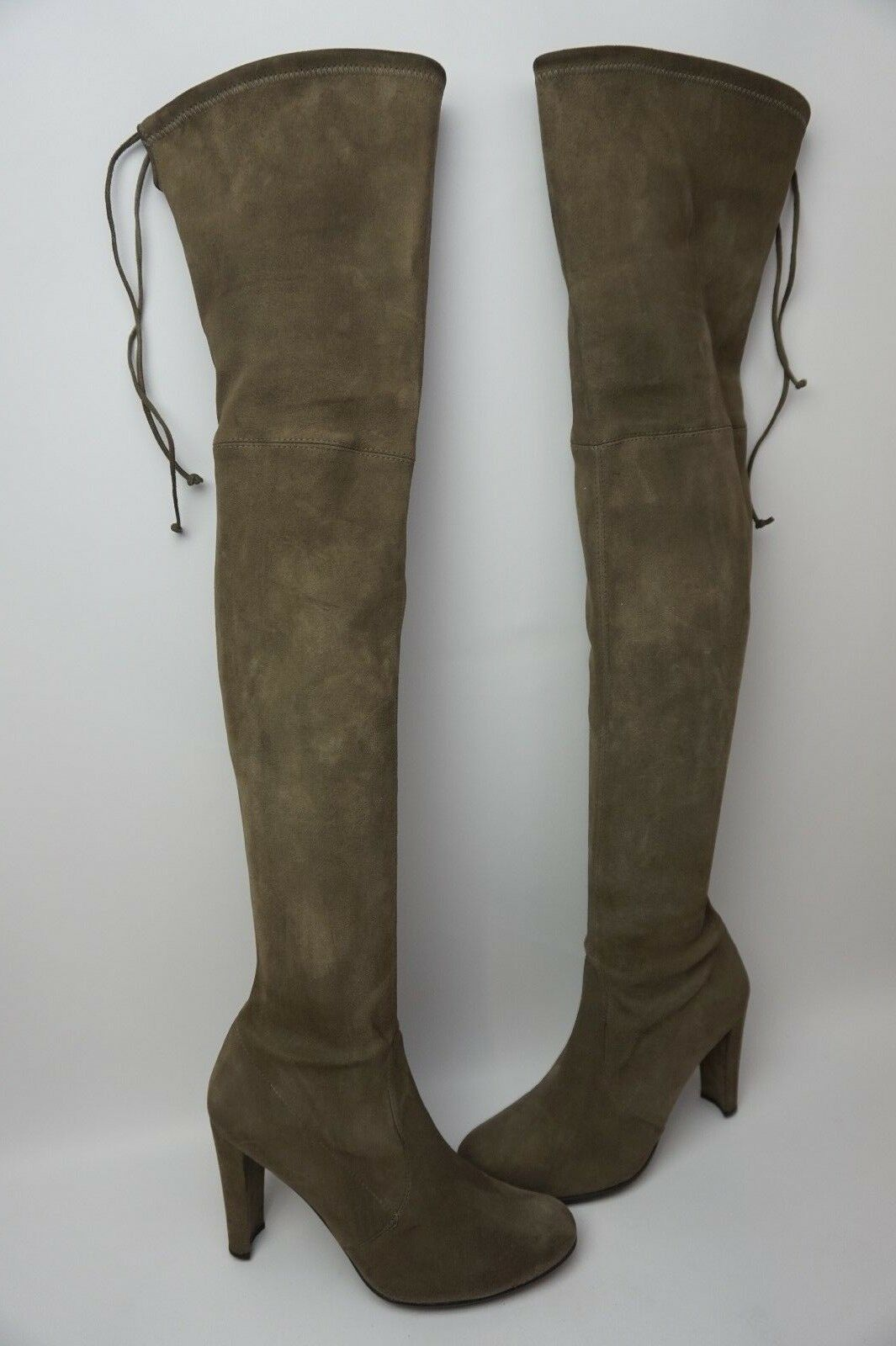 Stuart Weitzman Highland Over the Knee Praline Grey Suede Boots Size 9.5 M