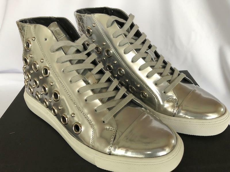 Versus by Versace Silver Leather high top fashion sneakers with metallic gromets