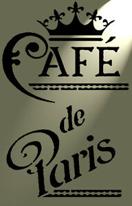Shabby-Chic-Stencil-VINTAGE-CAFE-DE-PARIS-Stile-Rustico-in-MYLAR-Muro-a4-297x210mm