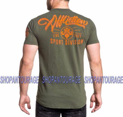 AFFLICTION Sport Higher Standard Script AS18030 Men`s New Military Green T-shirt