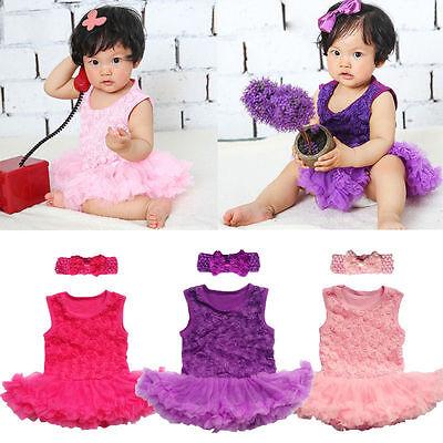 2PCS Baby Infant Clothes Headband+Romper Girl Outfits Tutus Newborn Dress rose