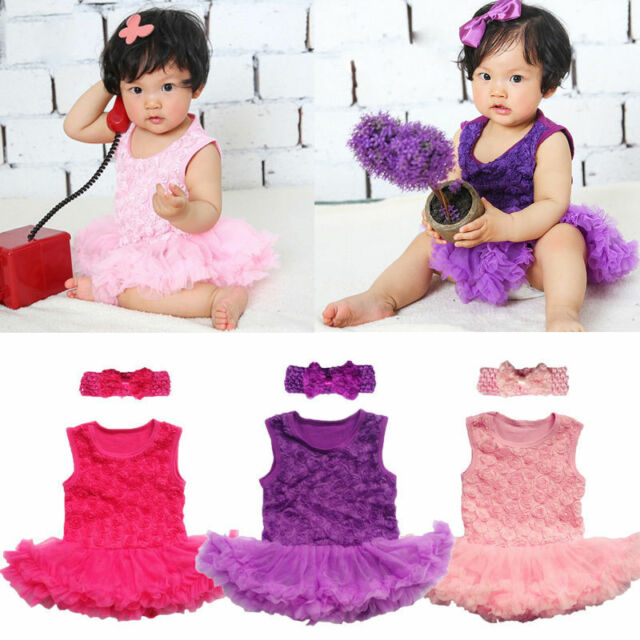 2PCS Baby Infant Clothes Headband+Romper Girl Outfits Tutus Newborn Dress rose