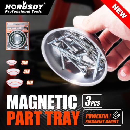 "6/"" 4/"" 3/"" Magnetic Part Holder Magnet Tray 3pc Dish Organizer Round parts screws"