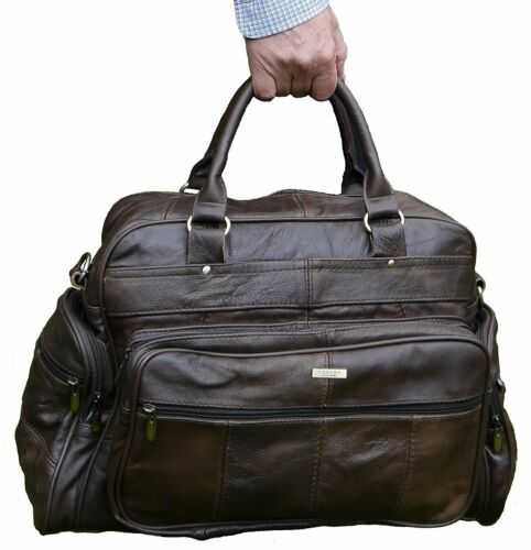 Weekend Bag with Detachable Flight Pilot Bag Unisex Large Real Leather Travel