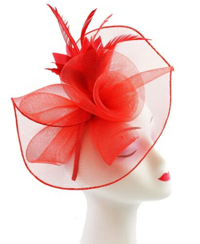 GRANDE elegante fascia /& Clip Fascinator con Matrimonio Cappello Gare Royal Ascot OCCASIONE