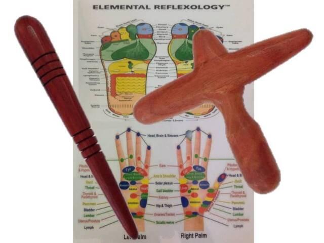 2 x Thai Reflexology Hand/ Foot Massage Tool Stick with Laminated chart'