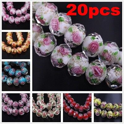 12x8mm,20Pcs Faceted Lampwork Glass Charms Rose Flower Finding Loose Spacer Bead