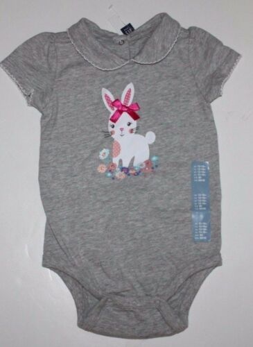 Gray Bunny Graphic Bodysuit Top w// 3-D Bow baby Gap NWT Girl/'s 0 3 6 12 18 Mo