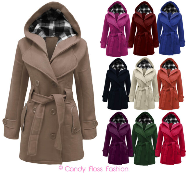 Women Belted Button Coat New Hooded Military Jacket Plus Size 8-20