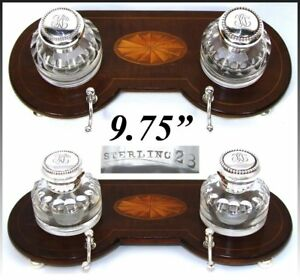 """Antique 9.75"""" Double Inkwell, Sheraton Style Inlaid Inkstand, Sterling Silver"""