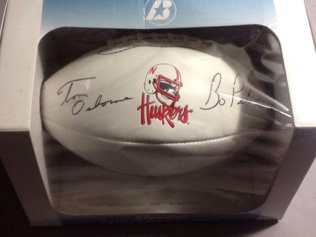 Tom Osborne Bo Pelini Signed Autographed Football Nebraska Cornhuskers Baden