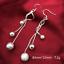 Women-Silver-Plated-925-Double-Beads-Tassel-Snake-Link-Ear-Hook-Earring-Jewelry thumbnail 3