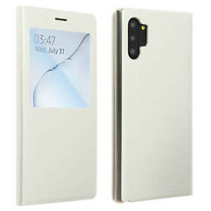 SMART-View-Finestra-Flip-Case-per-Samsung-Galaxy-Note-10-Plus-copertura-Slim-bianco