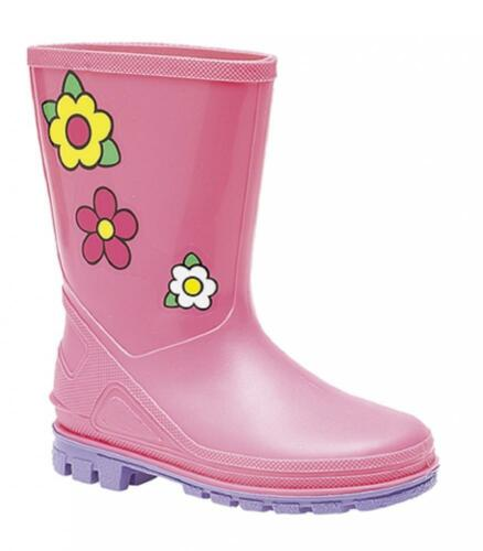 Kids Pink Flower Wellies Girls Junior Sizes 3-10 Jr