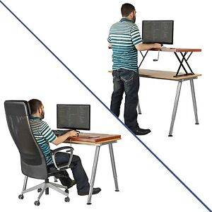 Halter Manual Adjule Height Table Top Sit Stand Desk Cherry Ebay