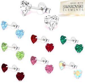 Womans-Girls-Heart-Swarovski-Crystal-Elements-925-Sterling-Silver-Stud-Earrings