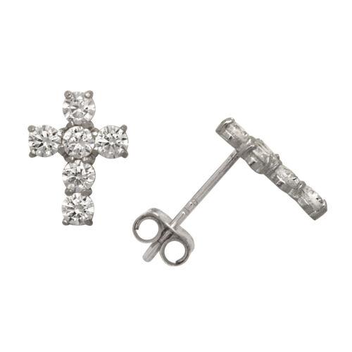 14K Jaune//Or blanc croix Poussoir Arrière Clous d/'oreilles avec 1.00Ct créé diamant