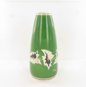 German-Pottery-Fine-Art-Vase-With-Bright-Green-Glaze-and-Stylised-Leaf-Design