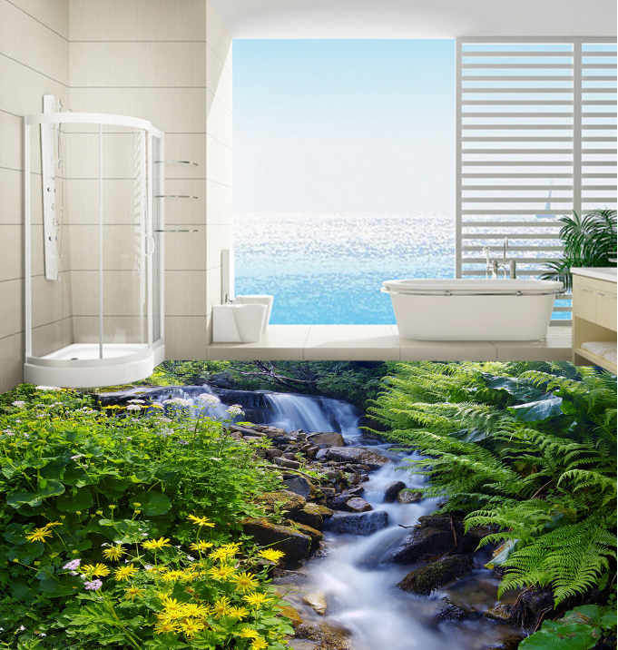 3D Flower Waterfall 4 Floor WallPaper Murals Wall Print 5D AJ WALLPAPER AU Lemon