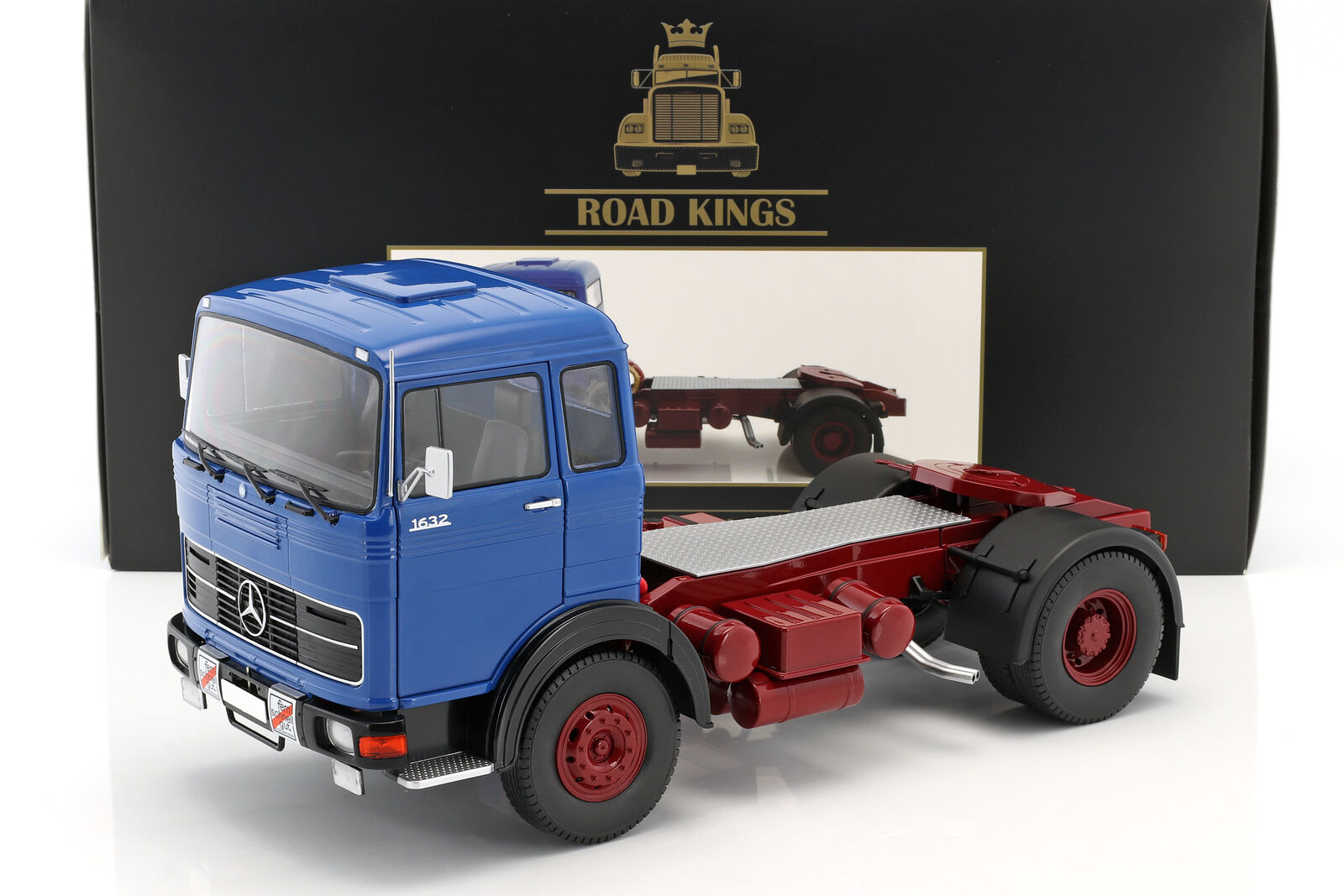 Mercedes-Benz Lps 1632 Cabeza Tractora Año 1969 Azul Azul  Rojo Oscuro 1 18 Road
