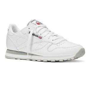 a01e7f5277b Image is loading REEBOK-MENS-CLASSIC-LEATHER-TRAINERS-WHITE-GREY-2214