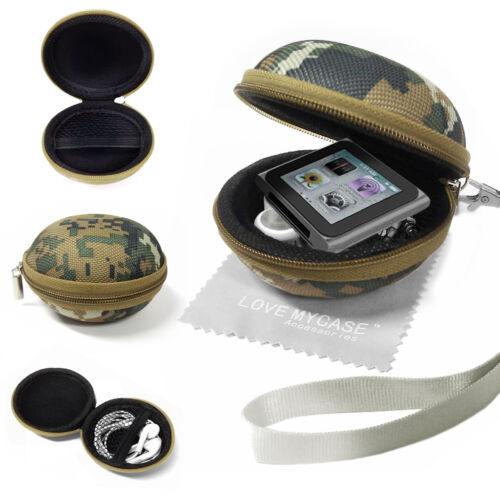 Fabric MP3 Player Earphone Clamshell Case for Apple iPod Nano 6th Generation