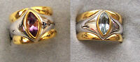 925 Sterling Silver Two Tone Vermeil Gold Genuine Stone Wide Band Ring