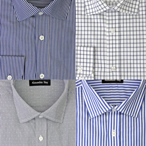 Alexander Hay Mens Formal Long Sleeve Cotton Shirts Bengal, Dobby, Stripe, Check