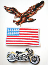 HARLEY DAVIDSON + EAGLE FLAG  Embroidered Iron Sew On Cloth Patch Badge APPLIQUE