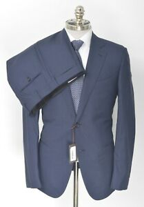 NWT CARUSO Blue Muted Glen Check Loro Piana Super 150's Wool Suit 42 R (EU 52)