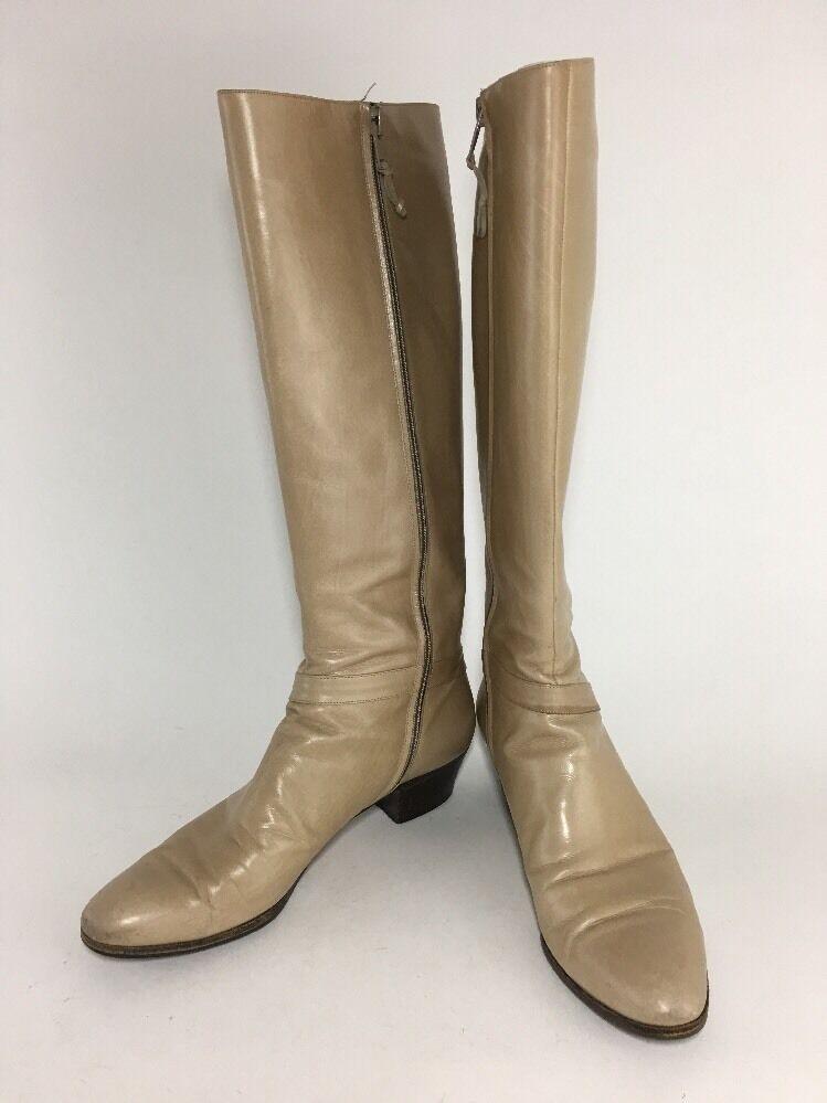 Salvatore Ferragamo Tall Knee High Leather Boots Sz 7 AAAA Beige