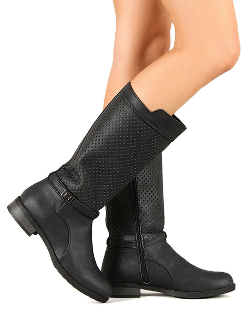 Qupid Turner-11 New Women Leatherette Perforated Calf High Riding Boot