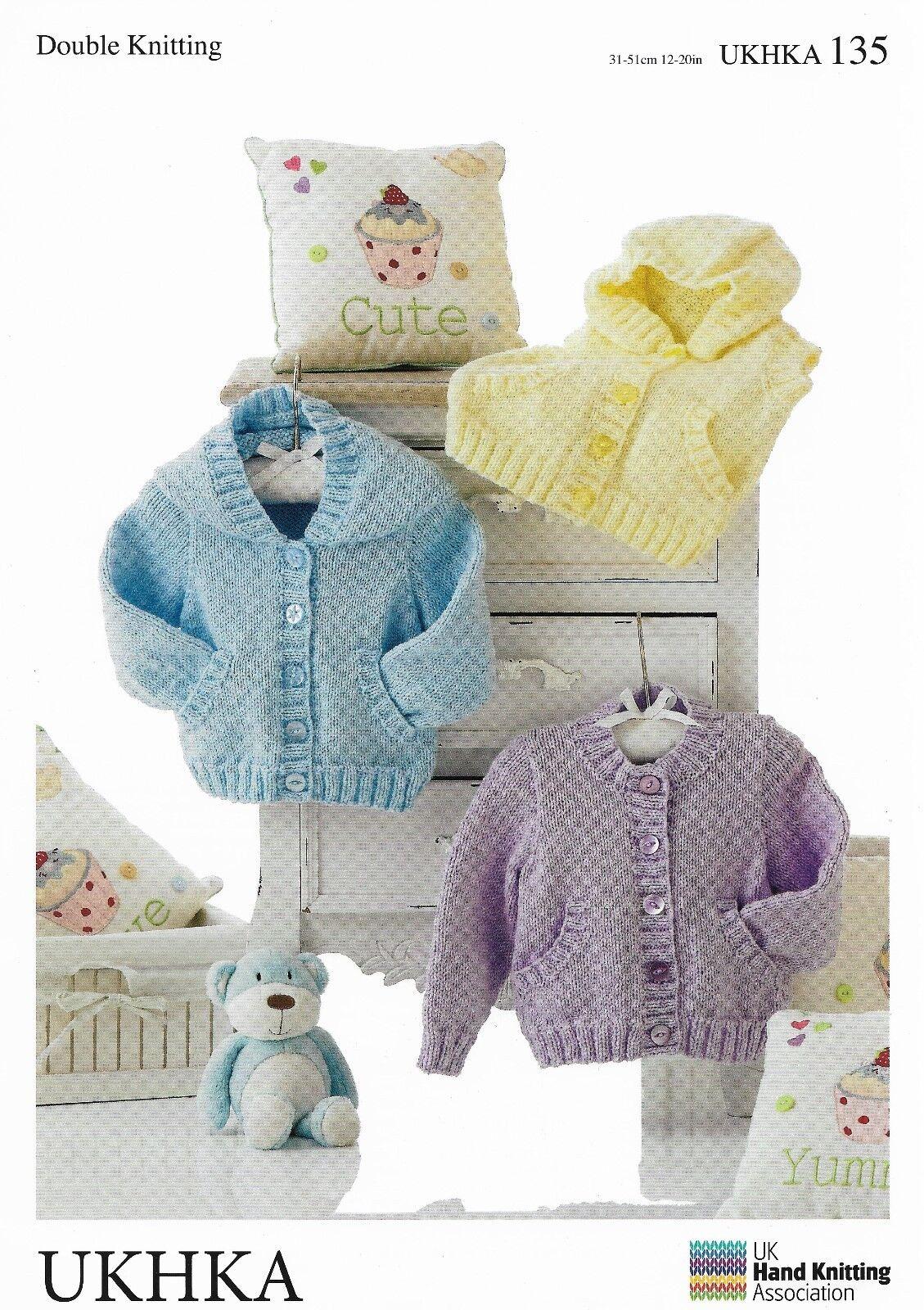 13fcff5b0 UKHKA 135 Baby Jackets With Hood and Waistcoat DK Knitting Pattern ...