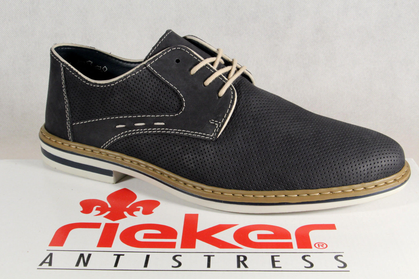 Rieker Slip on shoes Lace up bluee Real Leather B1435 New