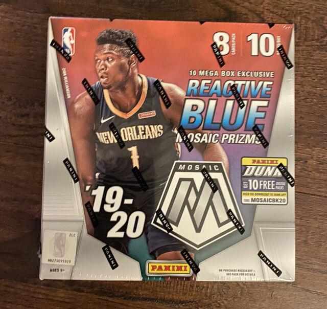 NEW Panini NBA 2019-20 Reactive Blue Mosaic Prizms Basketball Cards Mega Box 80