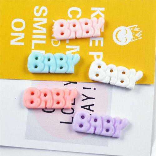 """10 piezas de resina /""""Baby/"""" palabra Craft Cabujones Flatbacks Accesorios de joyería 28x11mm"""