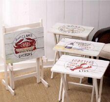 Nautical TV Tray Table Stand Set Wood Folding Snack Beach Lobster Lighthouse