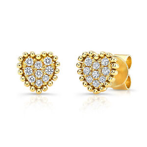 83ec27942 0.18 TCW 14k Yellow Gold Natural Round Diamond Pave Beaded Heart ...