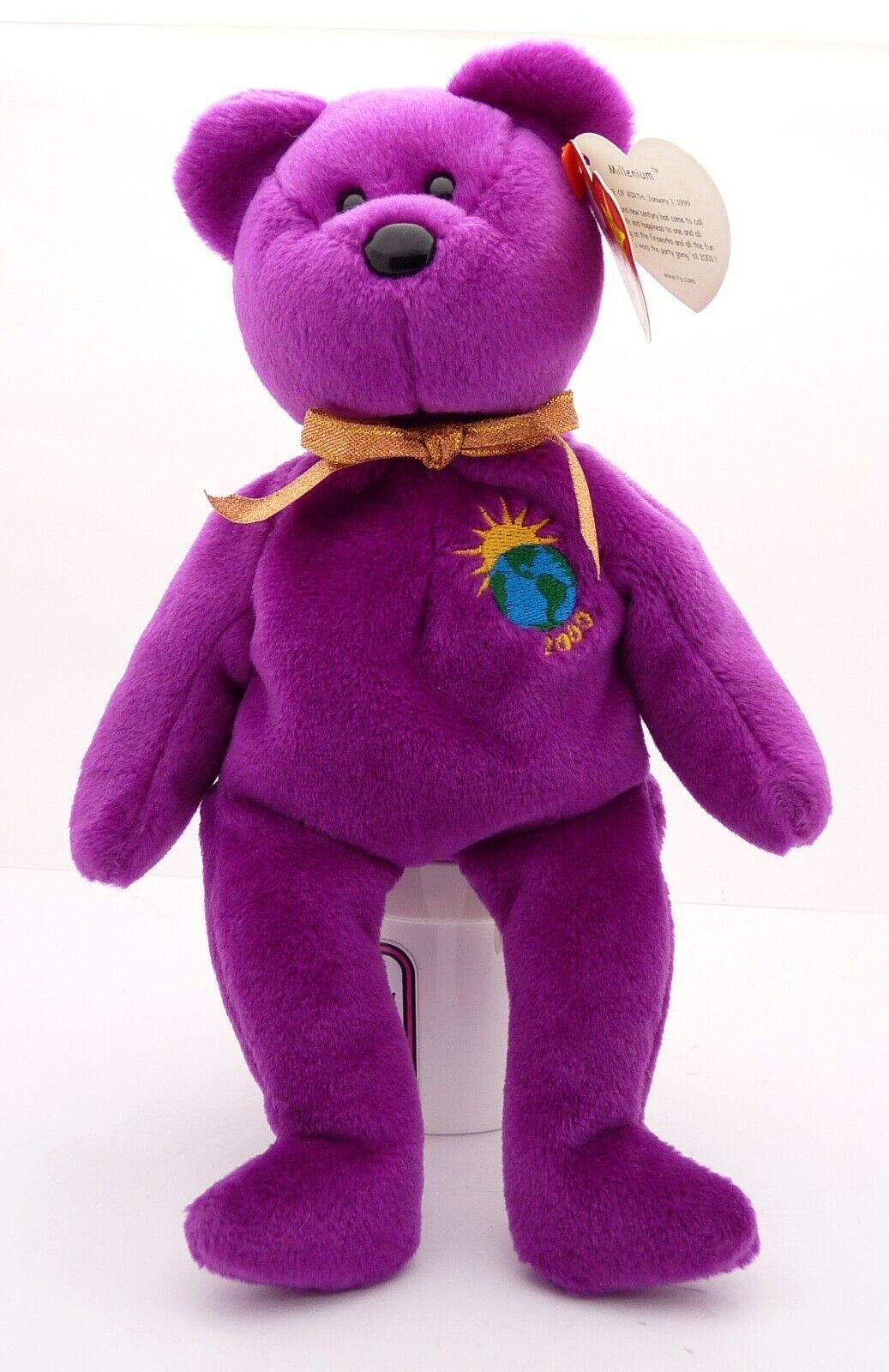 TY Original BEANIE BABY MILLENIUM BEAR BEAR BEAR January 1 1999 MISSPELLED NAME TAG ERROR ad2ff7